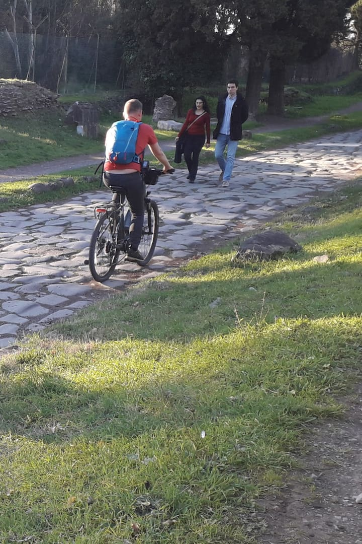 Cycle over an ancient roman road