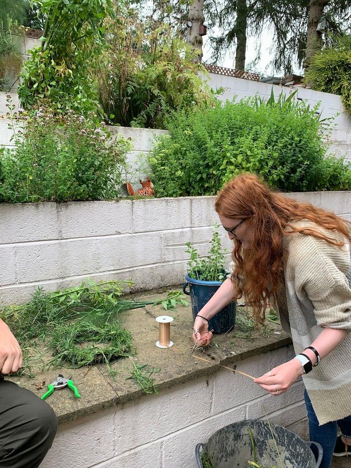 making herb wreath