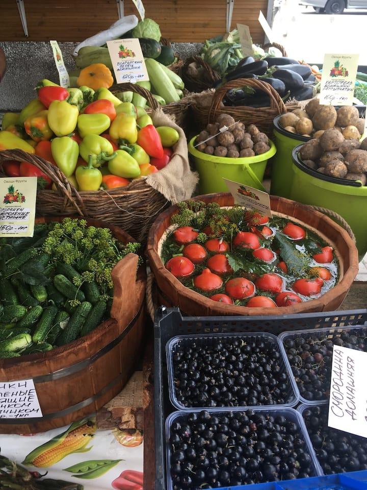 Pickled vegetables&berries at the market