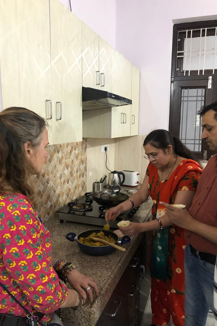 Guest is learning cooking techniques