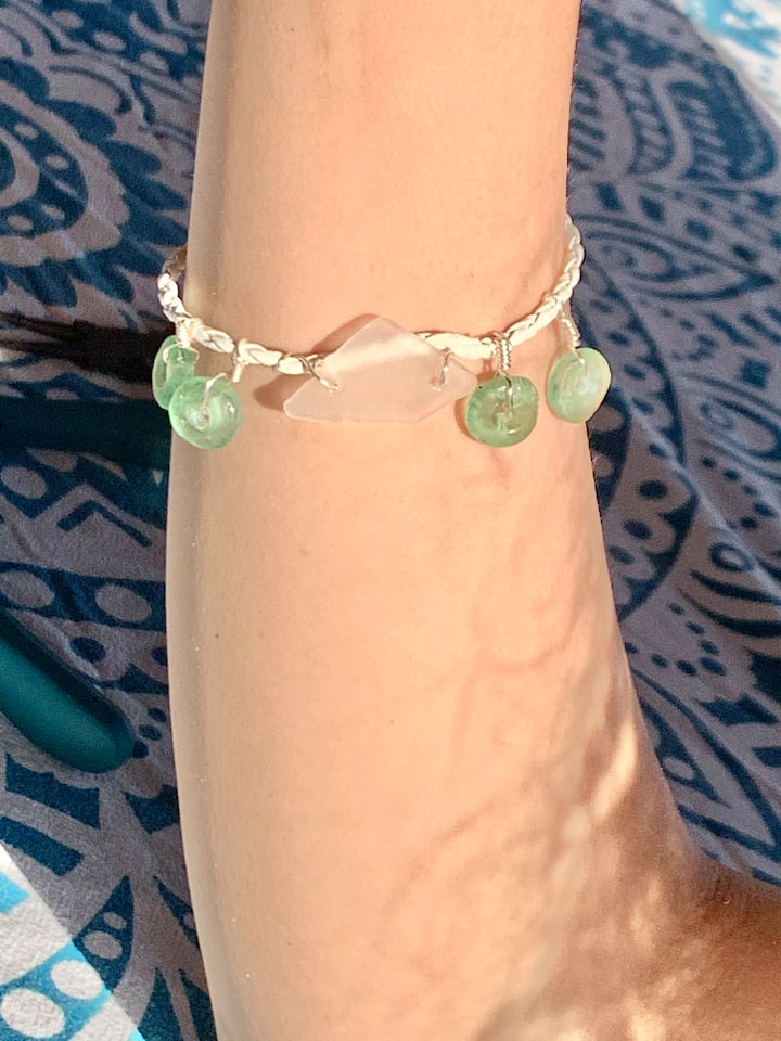 Leather wire wrapped bracelet