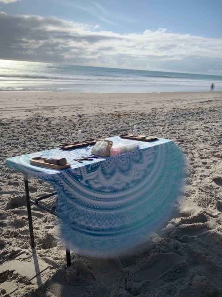 Set up to craft jewelry on the beach