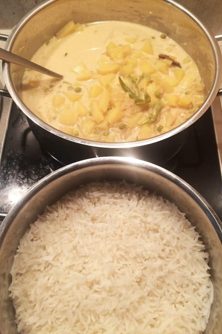 Potato Stew & Rice South Indian flavor