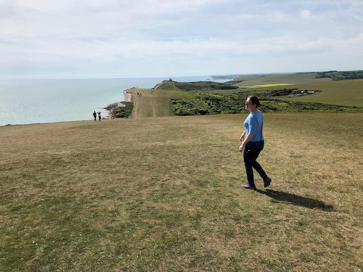 Walking along the famous cliffs
