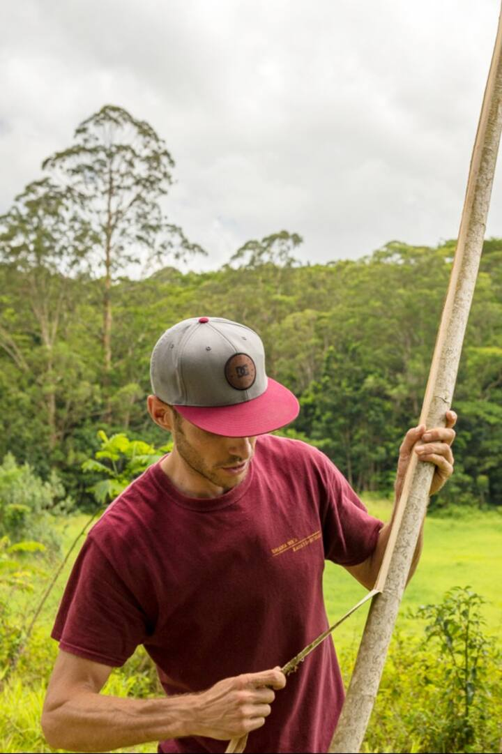 Stripping hau bark to make cordage