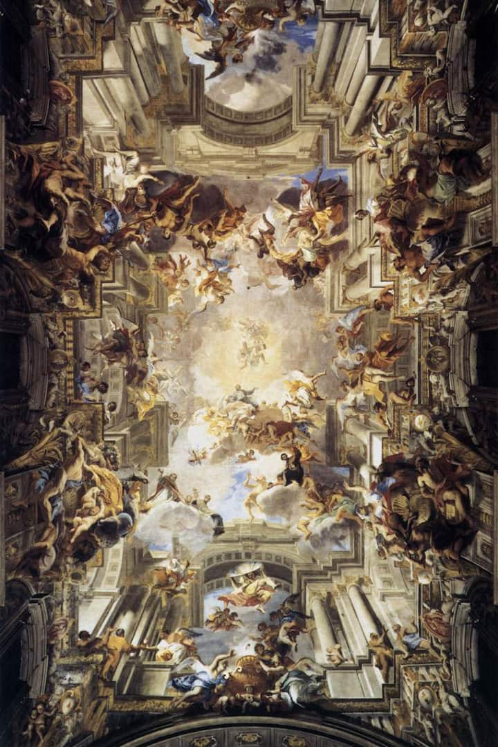 the ceiling opens into the sky