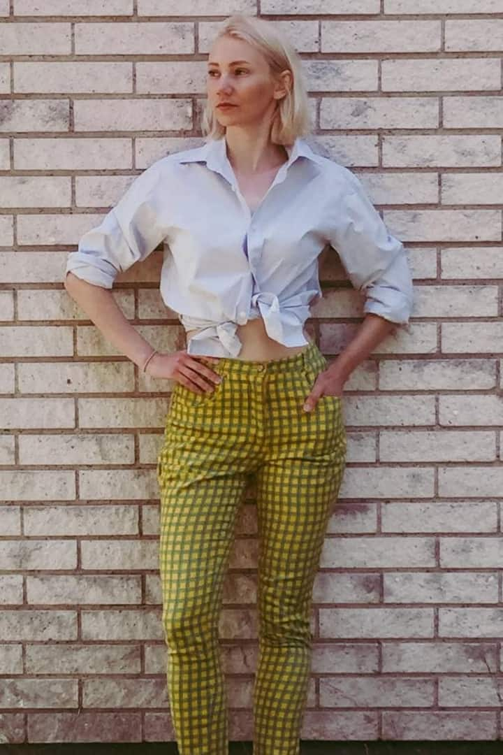 Thrifted trousers altered to fit.