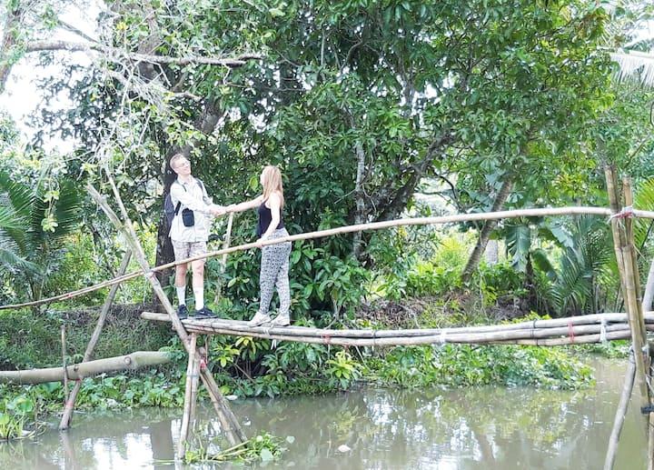 Walking on the monkey bridge