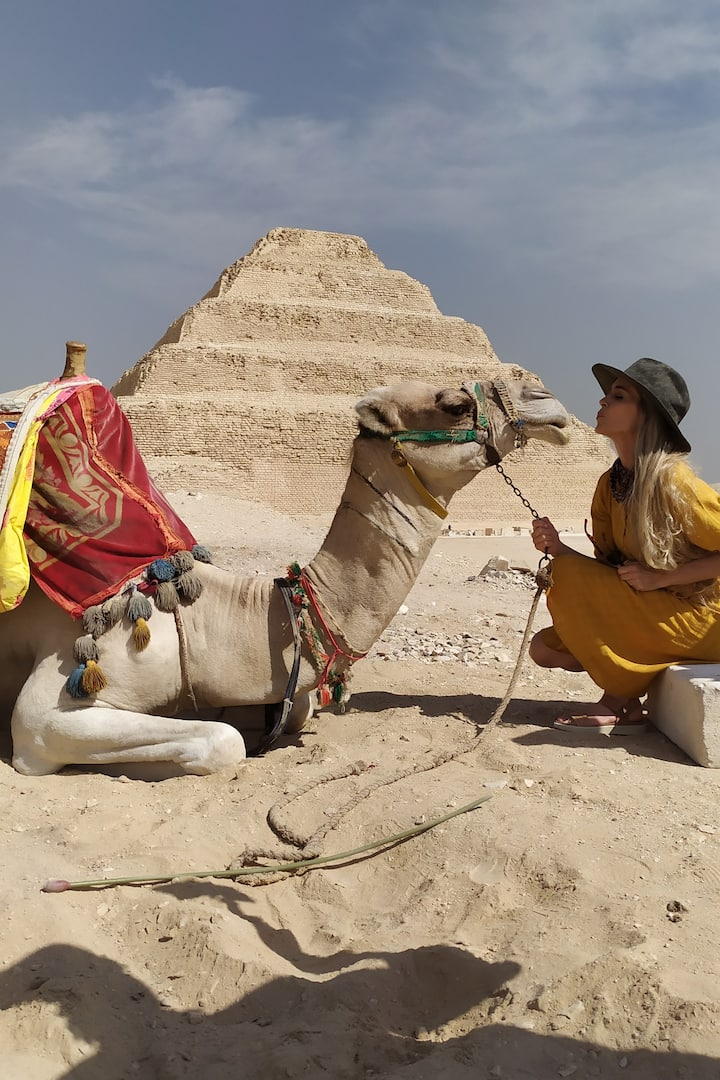 SAQQARA PYRAMID WITH THE SMART CAMEL in EGYPT THE STEP PYRAMID