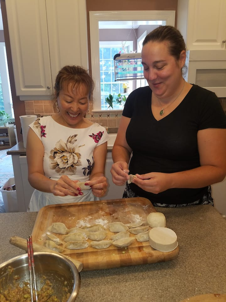 making dumplings with my student