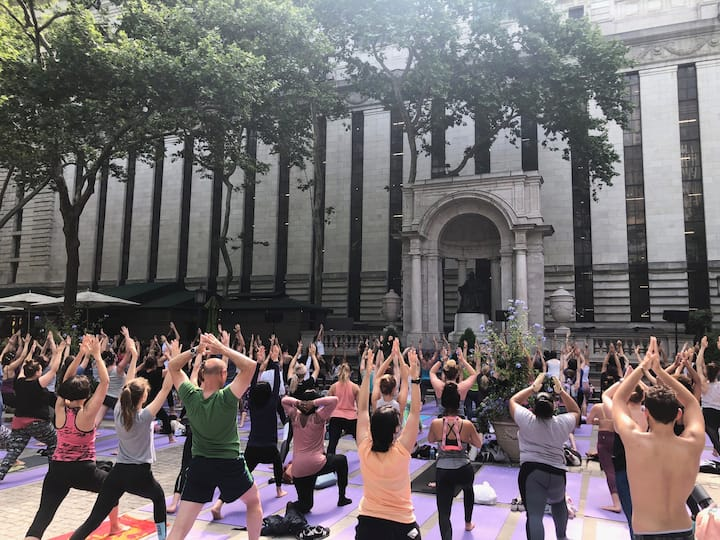Yoga in Bryant Park, NYC