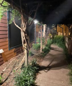 Motion sensor lights for cement walk from parking spot to front door of apartment.