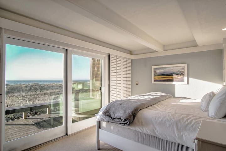 King master suite with sweeping views of ocean and dunes.  Step out to the hot tub.