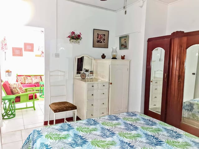 The Bedroom entrance from the Living Room .......plenty of storage for your stay.
