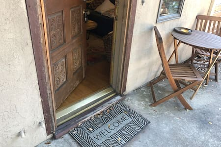 No stairs in the apartment. 2 inch step around door frame