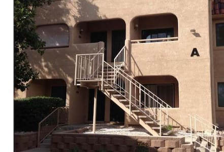 No stairs inside the unit but the unit is located on the 2nd floor.  Stairs to the front door are required.