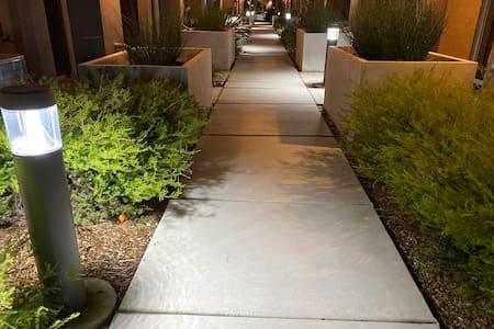 Well lit entrance path