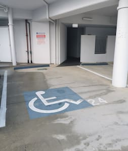 Disabled car park and pathway to front door