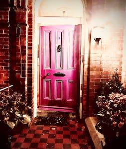 Well lit entrance to door