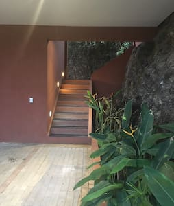 Stairs from the garage to the entrance of the house