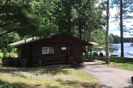 There is a well lit driveway to the cabin and solar path lights.  We have outdoor switch and motion flood lights at door, patio and by the dock.