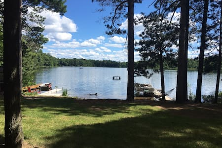 There are no steps in the cabin or around the cabin to the yard, beach and lake. There is a small step to the dock and of course from side of dock to the lake for swimming.