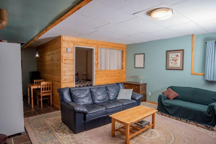 bright cozy basement suite log home