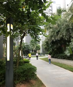小区花园走道两侧均有路灯照明