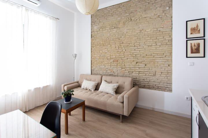 Living room with sofa bed/Sala de estar con sofá cama.