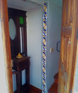 This is the entrance door from the street.