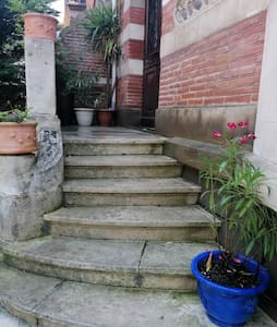 The door is over 1 meter large but is not adequate for wheelchair because of the 5 stairs .