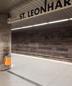 If you come with U2 then Exit on St.Leonhard Station