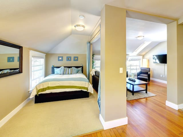 Bedroom Area. The loft has a separated bedroom area with privacy curtain. Bed is a queen pillow top.