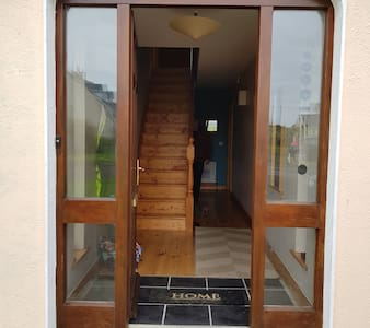 wide front door - 82cm with a small ramp of the same width leading to the front door. please note there is small weather shield of 480mm at the door entrance.