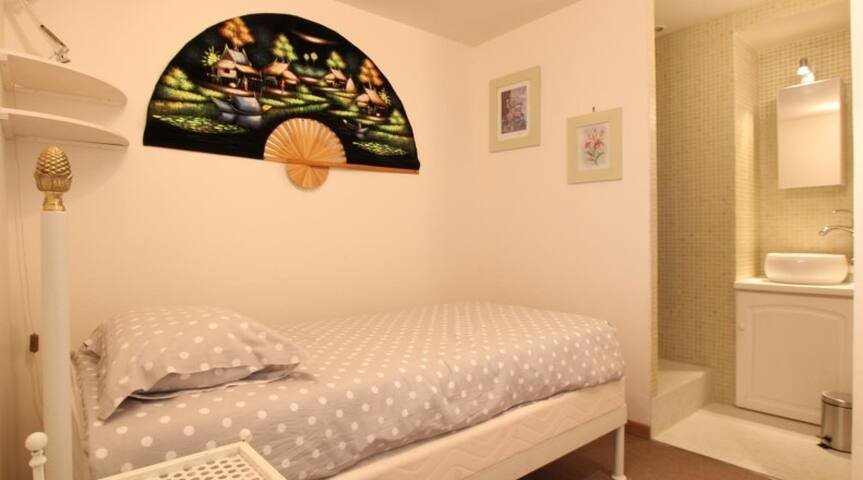 Chambre avec lit de 90 et douche à l'italienne et WC