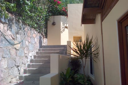 Staircase from street to house.At night has light.