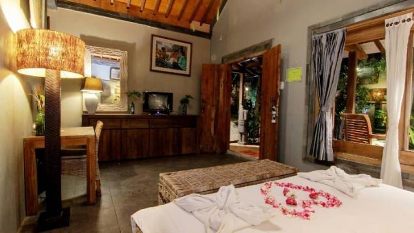 Room No. 1 for 3 adults (1 queen bed, 1 floor mattress)