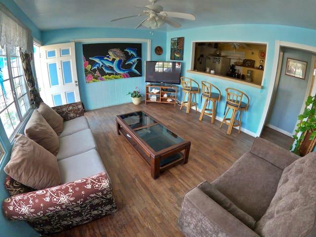 Roberts Beachfront Apartment has a spacious living room area.