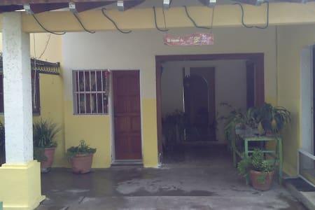 Acceso con puerta amplia hacia la parte principal de la casa , y mas estrecha hacia el acceso a la cocina . Escalones en todos los accesos.