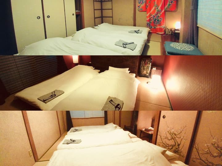Triple Futon bedding room w. Private Shower/Toilet