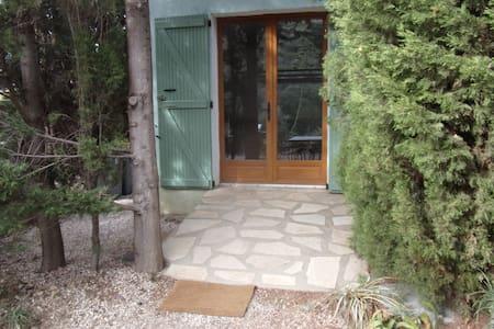 Porte entrée 140 cm  une légére pente  pour entrée , tout le gîte est plat en extérieur et à l'intérieur  sauf le coin douche  une marche