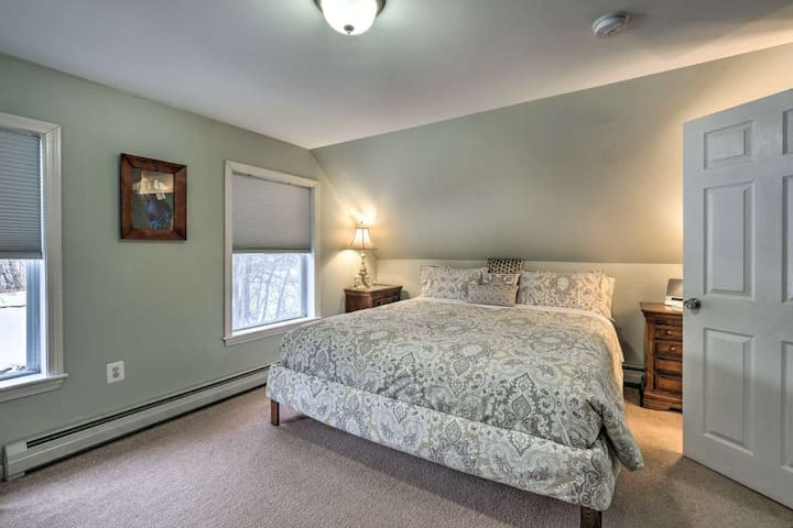 Comfortable King bed in sun-lit, ample Master Bedroom. Extra amenities include room darkening cellular shades, yoga mat and white noise/sound machine.