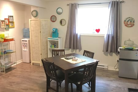 Open concept apartment with no hallways. Two doors in the apartment lead to the bedroom and the bathroom.
