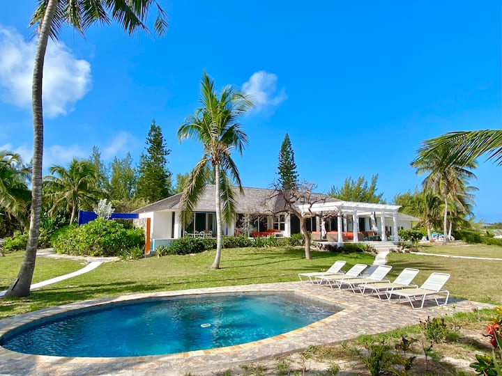 Secluded Pink Sand Beachfront Estate, Pool