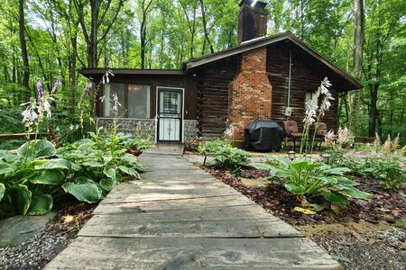 A flat wooden walkway with a very slight decline to the front door.  There is one step to get inside.  Once inside there are three more steps to get to the main cabin.