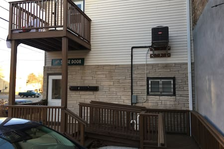 Building access is ADA compliant with handicap ramp. However, inside there are 16 steps going up to the apartment so somebody who has trouble with stairs should not rent this apartment. Access is well lit from nighttime lights adjacent building.