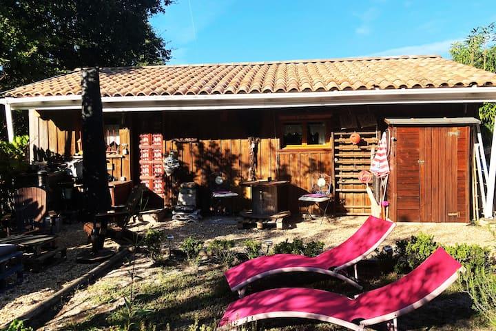 location cabane en bois sur le BASSIN d'ARCACHON.
