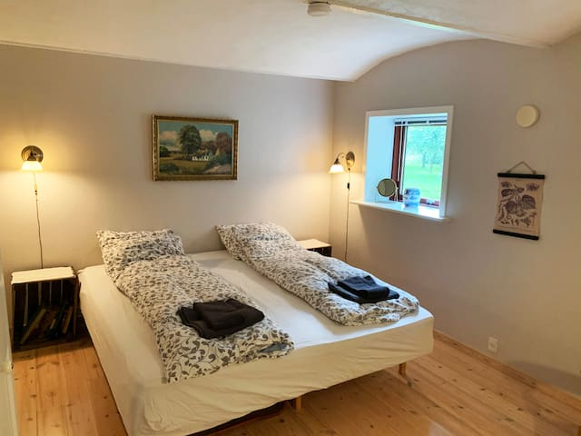 Bedroom made up as double beds. Each bedroom can be configurated either with two single beds or a double bed, in addition an extra bed can be added or a baby cot. People always tell us they sleep really well at Vestergaard :)