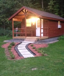 Outdoor lighting on all buildings including the parking area, cabin, shower and bathroom buildings