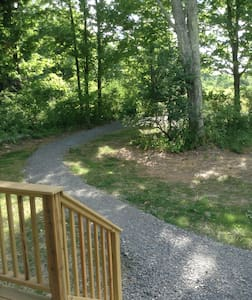 Gravel path takes you from parking area to base of the ramp.